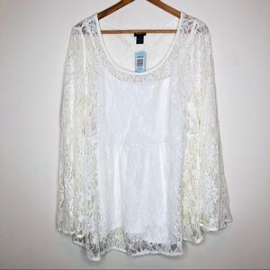 NEW Torrid Ivory Lace Top W/ Camisole Lace Bell 2X